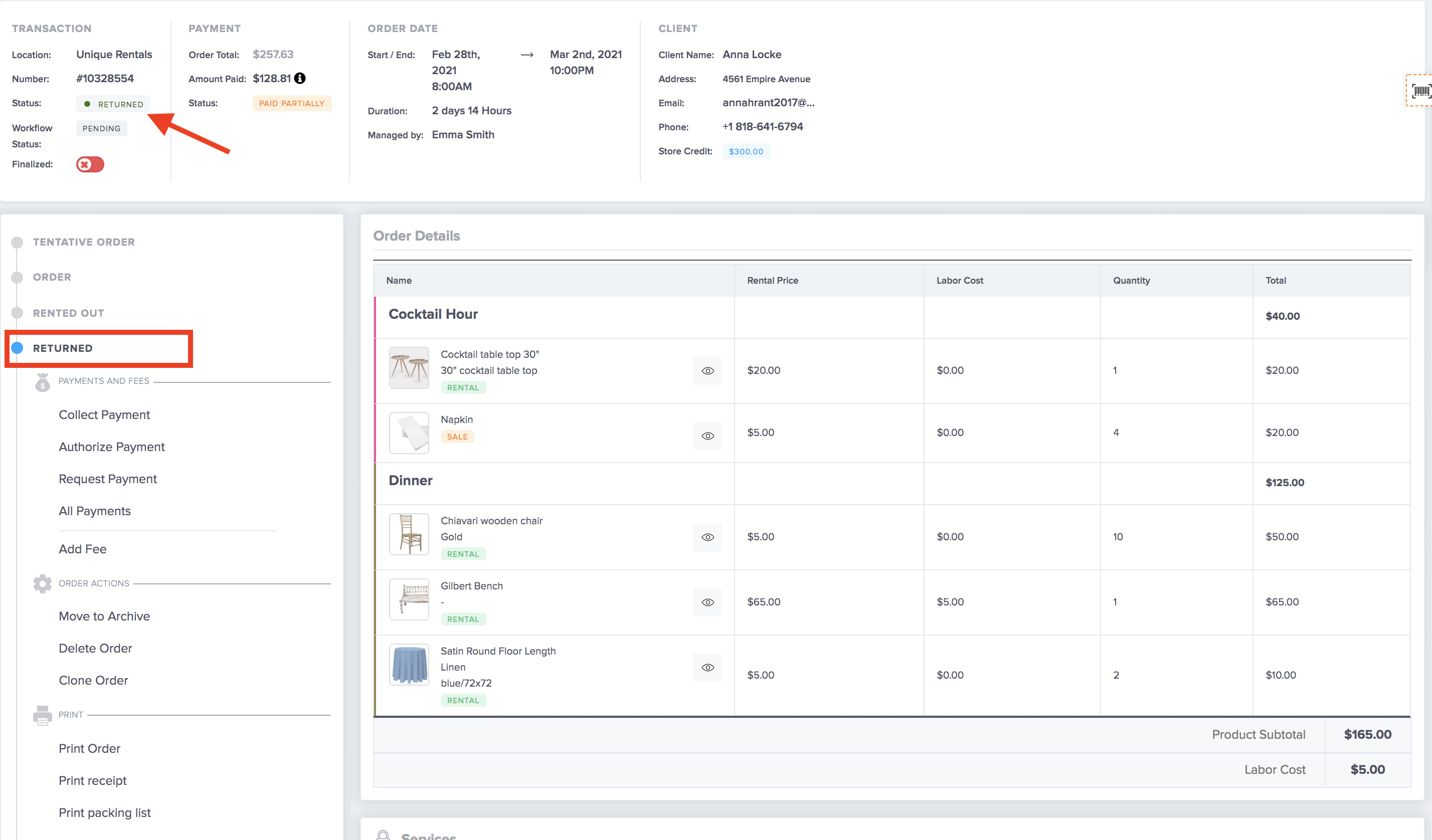 rental inventory grouping on event rental software