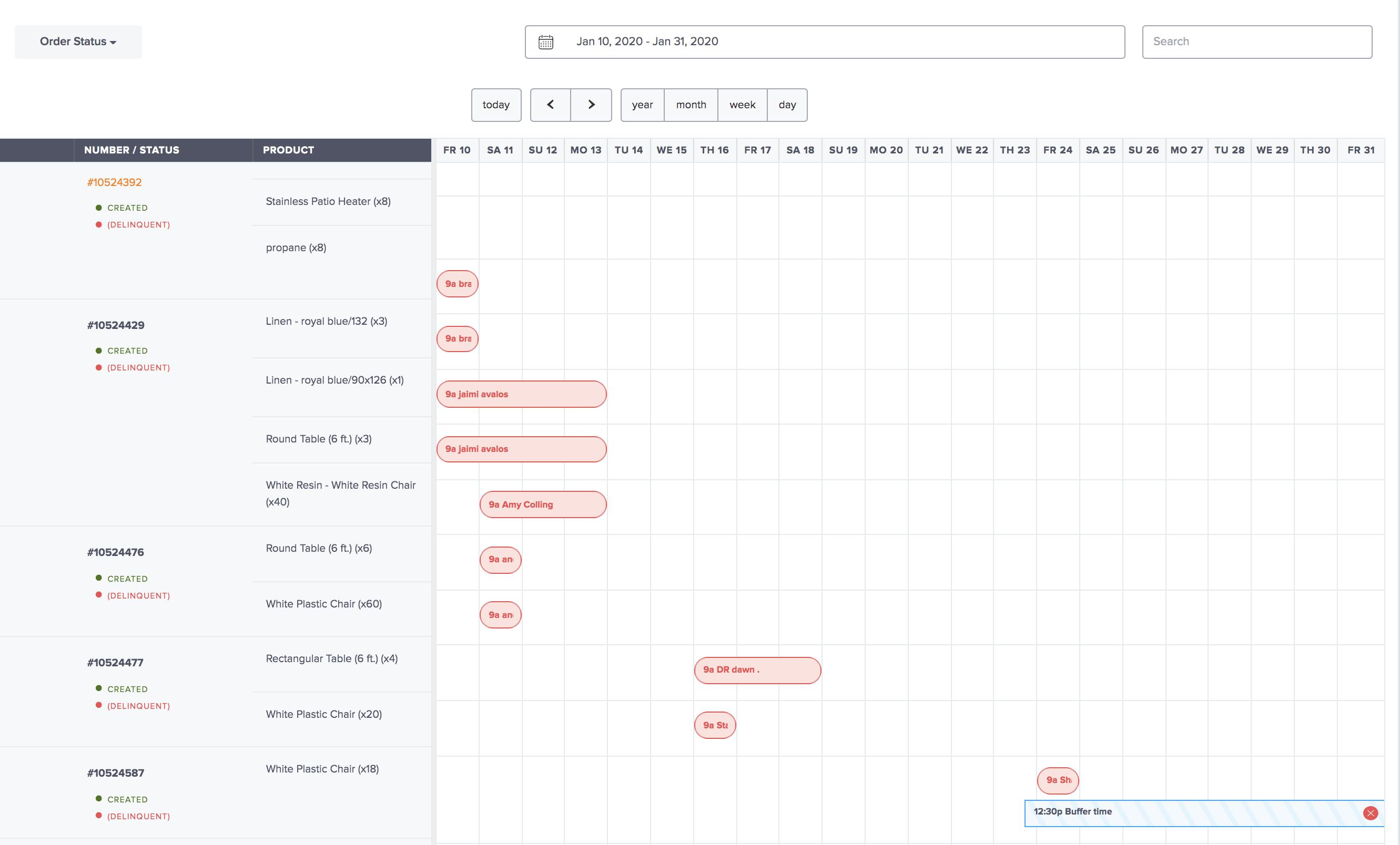 event calendar shown on event rental software
