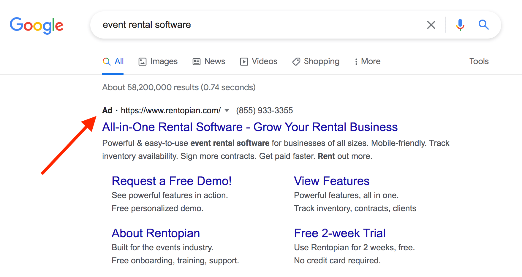 Google Ad for event rental software
