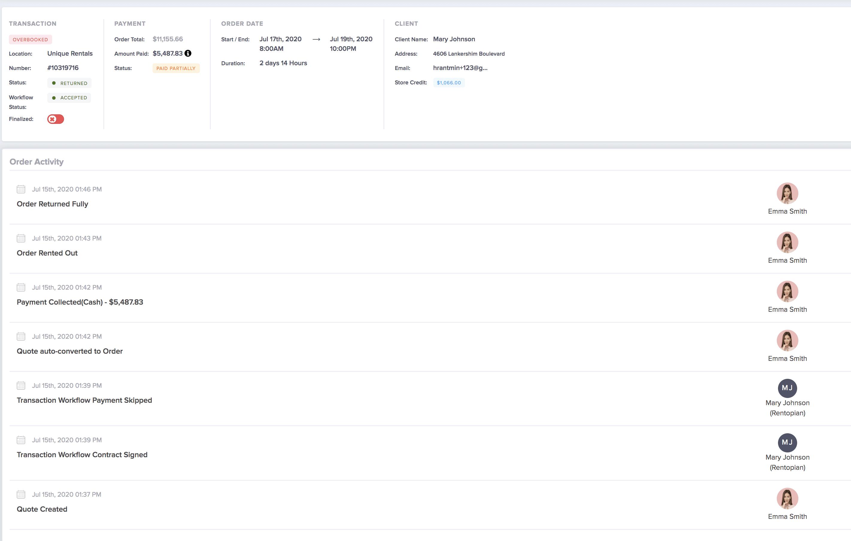 user log screen in event rental software
